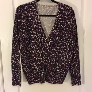 Merona purple leopard cotton/spandex XL cardigan